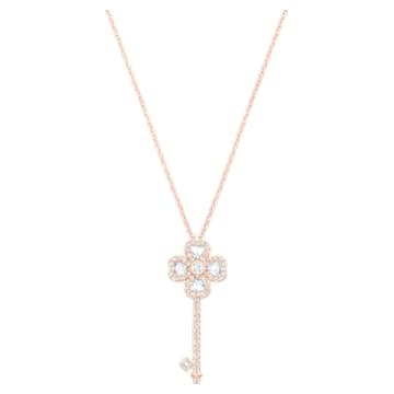Deary Key 鏈墜, 白色, 鍍玫瑰金色調 - Swarovski, 5422282