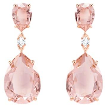 Vintage csepp alakú bedugós fülbevaló, rózsaszín, rozéarany árnyalatú bevonattal - Swarovski, 5424361