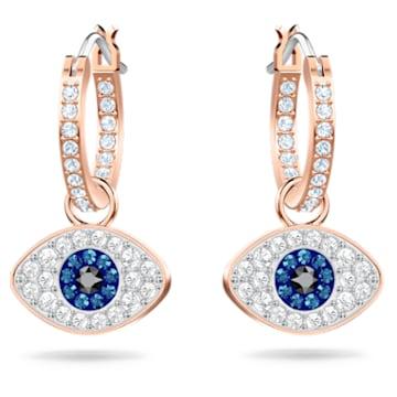 Swarovski Symbolic 穿孔耳环, Evil eye, 蓝色, 镀玫瑰金色调 - Swarovski, 5425857