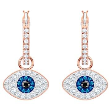 Pendientes de aro Swarovski Symbolic Evil Eye, azul, baño en tono oro rosa - Swarovski, 5425857