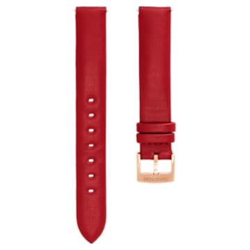 Cinturino per orologio 14mm, Pelle, rosso, placcato color oro rosa - Swarovski, 5426833