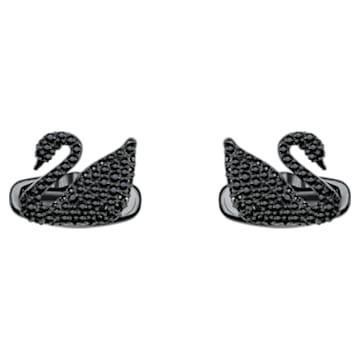 Swan 袖扣, 黑色, 黑色 PVD 电镀 - Swarovski, 5427129