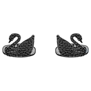 Swan Cufflinks, Black, Black PVD - Swarovski, 5427129