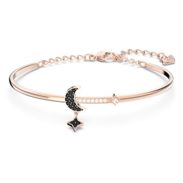 Swarovski Symbolic bangle, Moon and star, Black, Rose-gold tone plated - Swarovski, 5429729