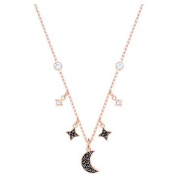 Colar Swarovski Symbolic Moon, preto, banhado a rosa dourado - Swarovski, 5429737