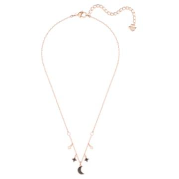 Collier Swarovski Symbolic, Lune et étoile, Noir, Placage de ton or rosé - Swarovski, 5429737