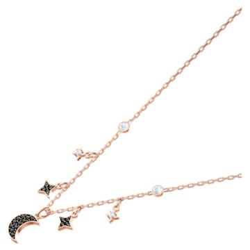Swarovski Symbolic necklace, Moon and star, Black, Rose-gold tone plated - Swarovski, 5429737