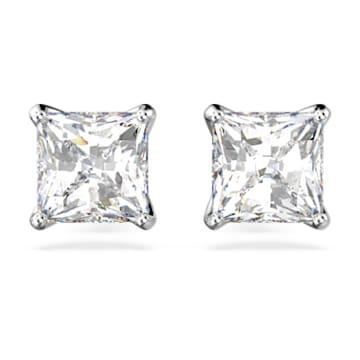 Attract stud earrings, Square cut crystal, White, Rhodium plated - Swarovski, 5430365