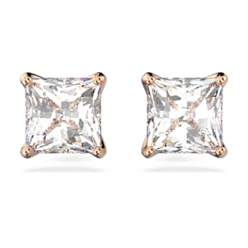 Attract 耳钉, 正方形切割仿水晶, 白色, 镀玫瑰金色调 - Swarovski, 5431895