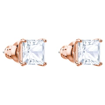 Τρυπητά καρφωτά σκουλαρίκια Attract, λευκά, επιχρυσωμένα με ροζ χρυσό - Swarovski, 5431895