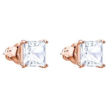 Cercei mici cu șurub Attract, albi, placați în nuanță aur roz - Swarovski, 5431895
