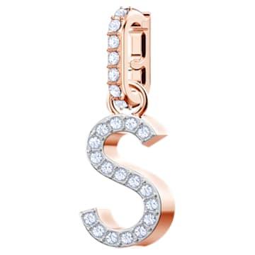 """Przywieszka """"S"""" z kolekcji Swarovski Remix, biała, w odcieniu różowego złota - Swarovski, 5434399"""