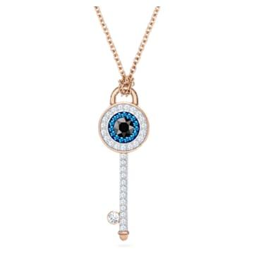 Swarovski Symbolic Halskette, Augensymbol und Schlüssel, Blau, Roségold-Legierungsschicht - Swarovski, 5437517