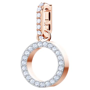 Swarovski Remix Collection Charm O, White, Rose-gold tone plated - Swarovski, 5437607