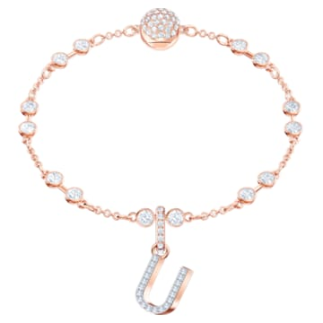 Swarovski Remix Collection Charm U, blanco, Baño en tono Oro Rosa - Swarovski, 5437608