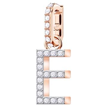 Swarovski Remix Collection Charm E, White, Rose-gold tone plated - Swarovski, 5437621