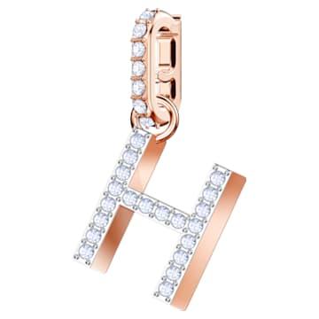 Talisman H Swarovski Remix Collection, alb, placat în nuanță de aur roz - Swarovski, 5437622
