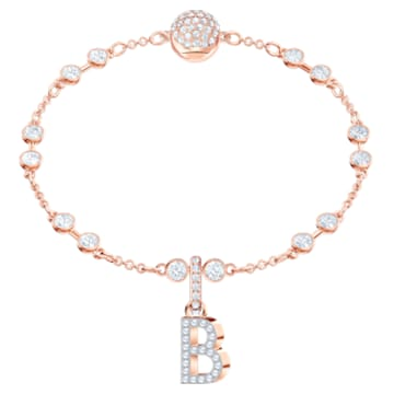 Swarovski Remix Collection Charm B, 白色, 镀玫瑰金色调 - Swarovski, 5437624