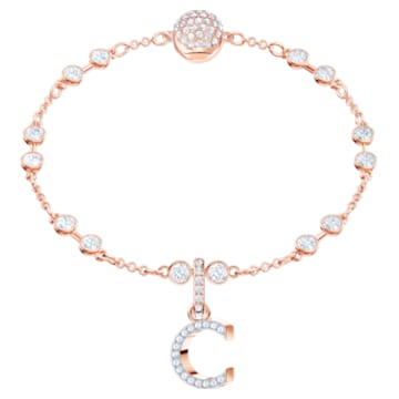 Swarovski Remix Collection Charm C, White, Rose-gold tone plated - Swarovski, 5437626