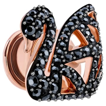 Facet Swan tack pin, Swan, Black, Rose-gold tone plated - Swarovski, 5439870