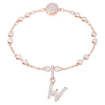 Φυλαχτό W από τη Swarovski Remix Collection, λευκό, επιχρυσωμένο με ροζ χρυσό - Swarovski, 5440422