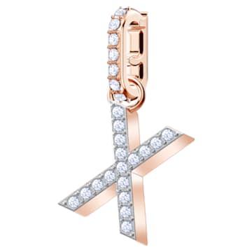 Swarovski Remix Collection Charm X, 白色, 镀玫瑰金色调 - Swarovski, 5440510