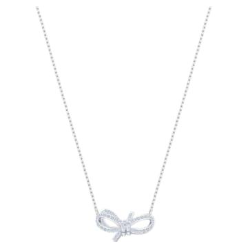 Lifelong Bow Necklace, White, Rhodium plated - Swarovski, 5440643