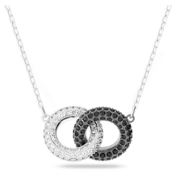 Stone 项链, 圆形的, 黑色, 镀铑 - Swarovski, 5445706