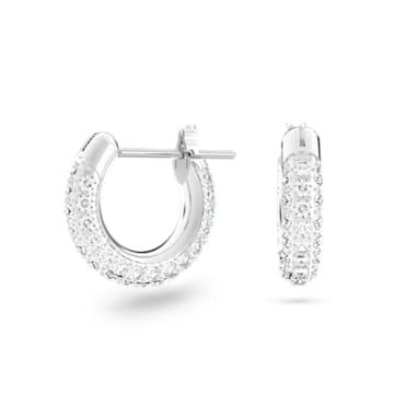 Stone 大圈耳环, 小码 , 白色, 镀铑 - Swarovski, 5446004