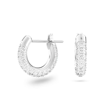 Stone hoop earrings, Small, White, Rhodium plated - Swarovski, 5446004