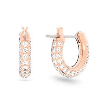 Orecchini a cerchio Stone, piccola, Bianco, Placcato color oro rosa - Swarovski, 5446008