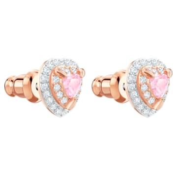 One Stud Pierced Earrings, Multi-coloured, Rose-gold tone plated - Swarovski, 5446995