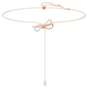 Colar Lifelong Bow Y, branco, acabamento em vários metais - Swarovski, 5447082