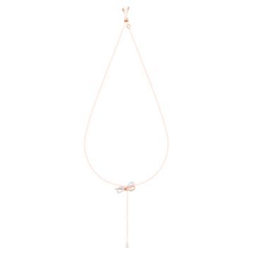 Collier en Y Lifelong Bow, blanc, Finition mix de métal - Swarovski, 5447082
