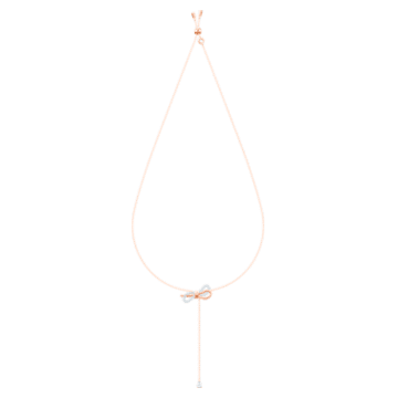 Lifelong Bow Y形项链, 白色, 多种金属润饰 - Swarovski, 5447082