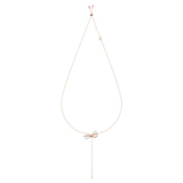 Lifelong Bow Y形项链, 蝴蝶结, 白色, 多种金属润饰 - Swarovski, 5447082