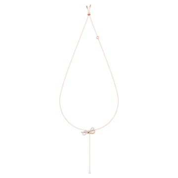 Lifelong Bow Y-образное колье, Белый Кристалл, Отделка из разных металлов - Swarovski, 5447082