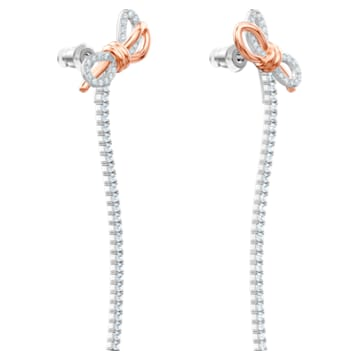 Pendientes Lifelong Bow, blanco, Combinación de acabados metálicos - Swarovski, 5447083