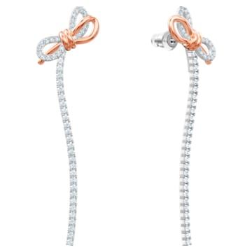 Brincos para orelhas furadas Lifelong Bow, brancos, acabamento em vários metais - Swarovski, 5447083