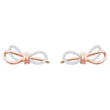 Lifelong Bow 穿孔耳环, 白色, 多种金属润饰 - Swarovski, 5447089