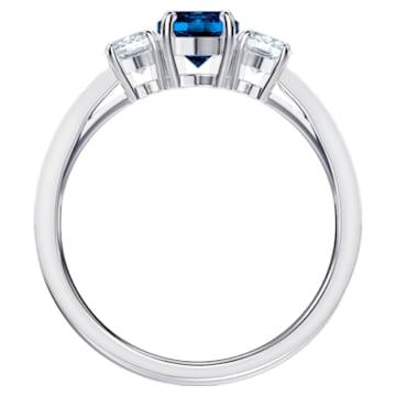 Anillo Attract Trilogy Round, azul, Baño de Rodio - Swarovski, 5448831