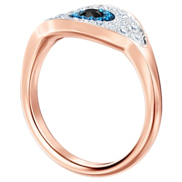 Swarovski Symbolic Evil Eye Кольцо, Синий Кристалл, Покрытие оттенка розового золота - Swarovski, 5448855