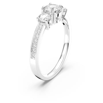Attract Trilogy Round Ring, White, Rhodium plated - Swarovski, 5448872