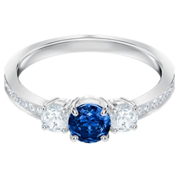 Attract Trilogy Round Ring, Blue, Rhodium plated - Swarovski, 5448879