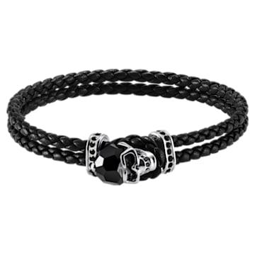 Bracelet Taddeo, Cuir, noir, Métal plaqué palladium - Swarovski, 5448905