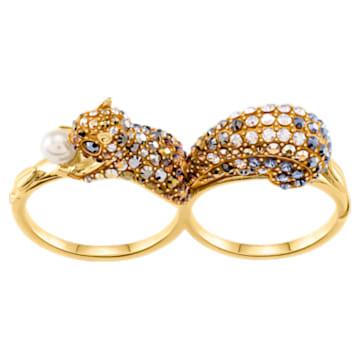 March Squirrel 图案双层戒指, 彩色设计, 镀金色调 - Swarovski, 5448907