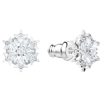 Magic Pierced Earrings, White, Rhodium plated - Swarovski, 5450935