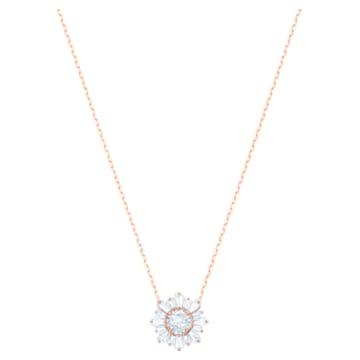 Μενταγιόν Sunshine, λευκό, επιχρυσωμένο σε χρυσή ροζ απόχρωση - Swarovski, 5451376