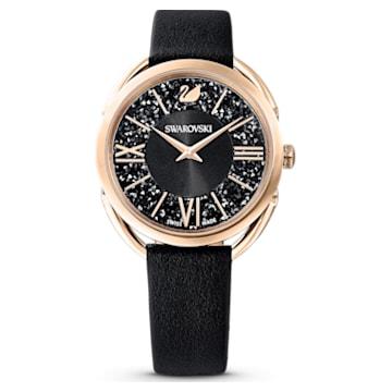 Crystalline Glam 腕表, 真皮表带, 黑色, 玫瑰金色调 PVD - Swarovski, 5452452