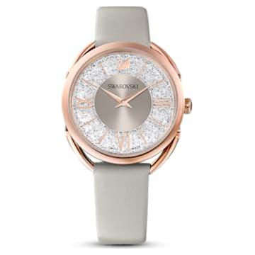 Montre Crystalline Glam, Bracelet en cuir, gris, PVD doré rose - Swarovski, 5452455